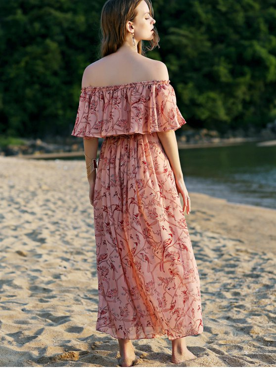Off The Shoulder Floral Beach Maxi Dress - PINK L Mobile