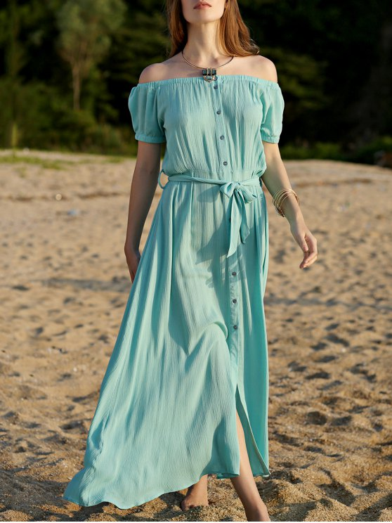 sale Button Front Turquoise Dress - TURQUOISE S