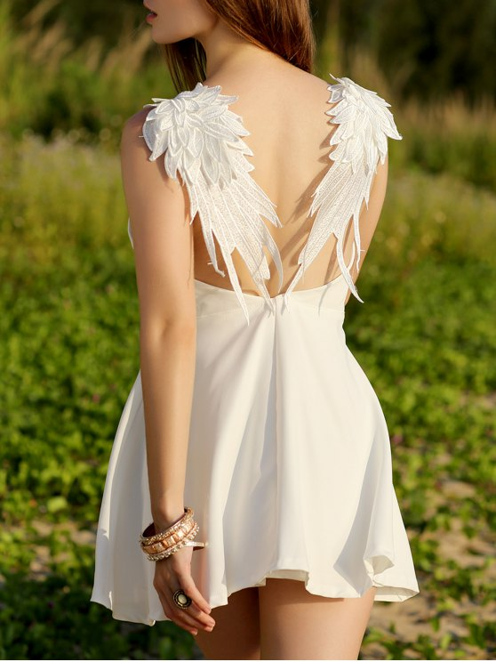 fashion Wing Embroidery Sleeveless Flare Dress - WHITE S