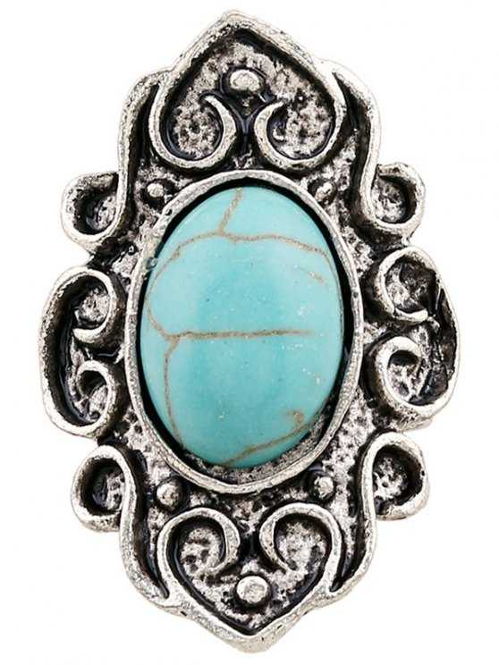 buy Faux Turquoise Embossed Flame Ring - SILVER