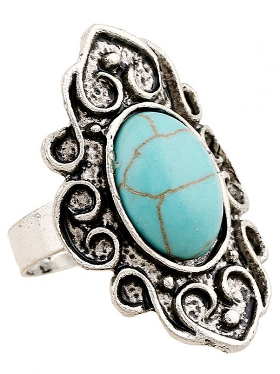 Faux Turquoise Embossed Flame Ring - SILVER  Mobile