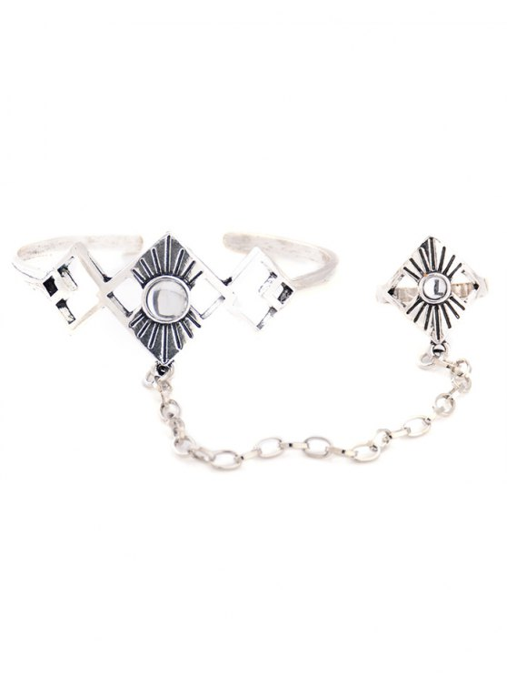 Hollowed Rhombus Opening Bracelet with Ring - SILVER  Mobile