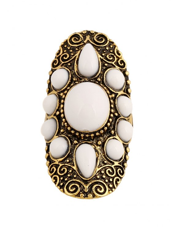 Faux Gem Oval Embossed Ring - GOLDEN  Mobile