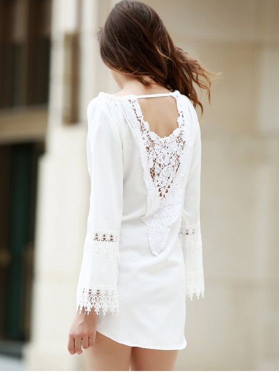 White Lace Splicing Backless Dress - WHITE M Mobile