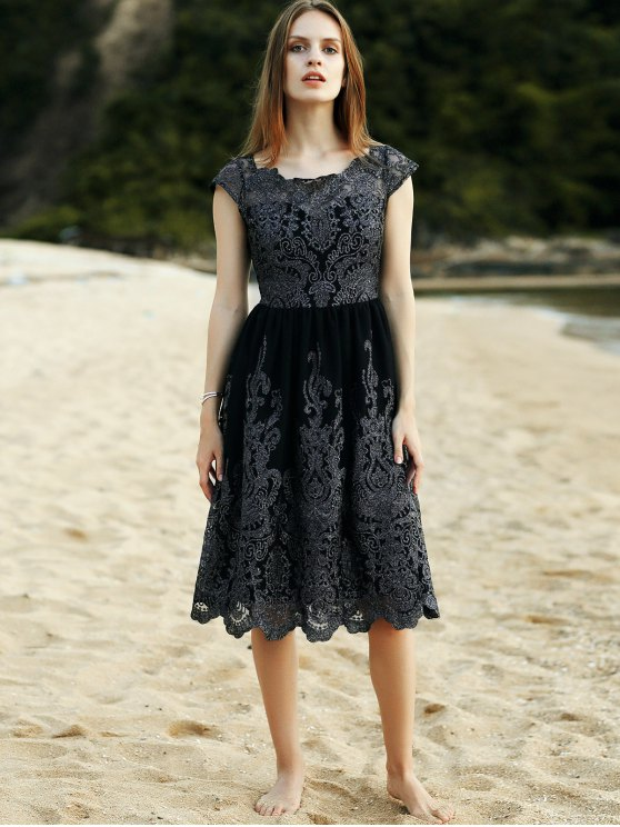 Lace Scoop Neck Short Sleeve Midi Dress - BLACK L Mobile