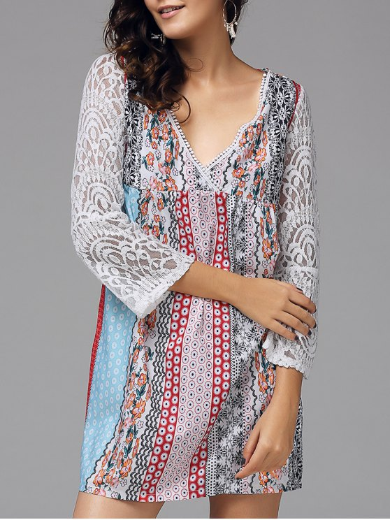 hot Floral Lace Panel Bohemian Tunic Dress - COLORMIX XL