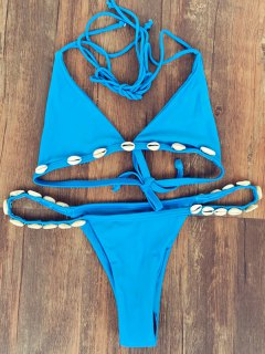 Solid Color Shelled Halter Bikini Set - Blue M