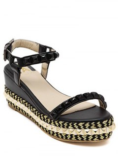 Rivet Ankle Strap Platform Sandals - Black 36