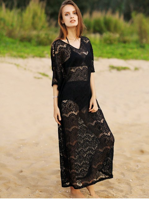 affordable Hollow Out V-Neck 3/4 Sleeve Lace Cover Up - BLACK ONE SIZE(FIT SIZE XS TO M) Mobile