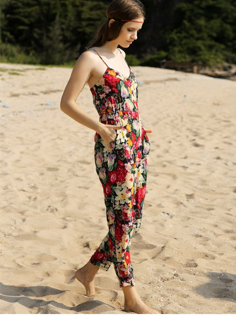 fashion Red Floral Print Cami Jumpsuit - RED M Mobile