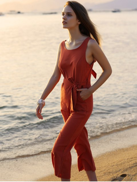 ladies Bowknot Solid Color Round Neck Sleeveless Jumpsuit - JACINTH XL Mobile