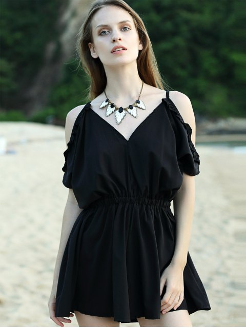 ladies Solid Color Cut Out Cami Short Sleeve Romper - BLACK M Mobile