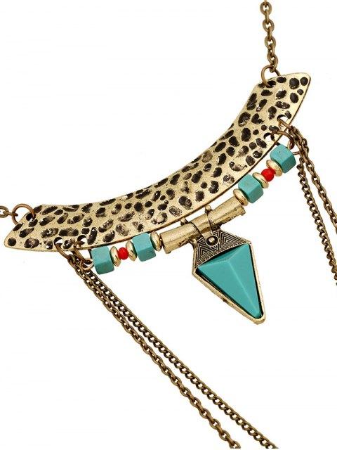 lady Faux Gem Carving Cross Necklace - GOLDEN  Mobile