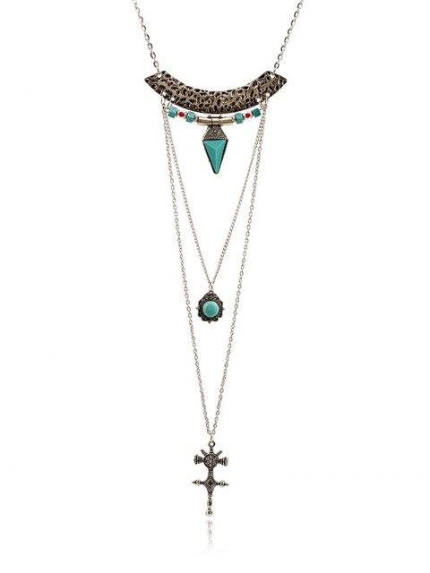 best Faux Gem Carving Cross Necklace - SILVER  Mobile