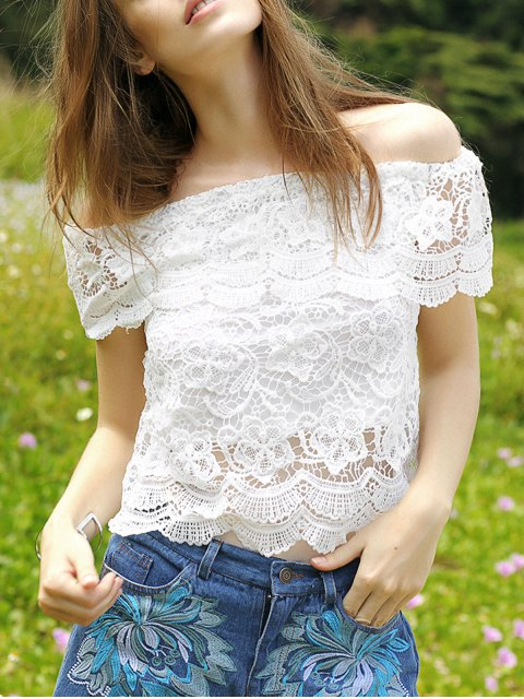 chic Flouncing Spliced Boat Neck Lace Blouse - WHITE S Mobile