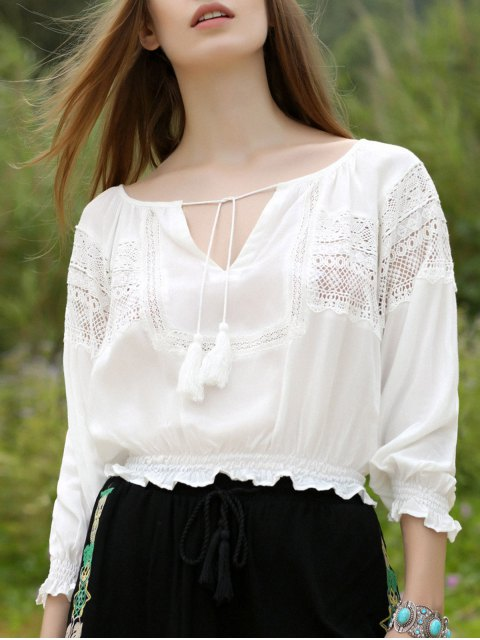 chic Lantern Sleeve White Top - WHITE M Mobile