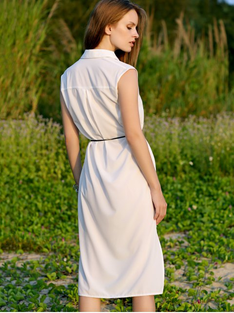 lady Shirt Collar Belted Dress - WHITE M Mobile