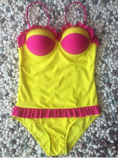 fancy Hit Color Ruffles Cami One-Piece Swimwear - YELLOW L Mobile