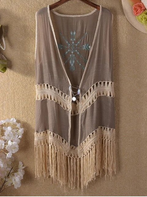 new Tassels Spliced Sleeveless Hollow Out Cardigan - KHAKI ONE SIZE(FIT SIZE XS TO M) Mobile