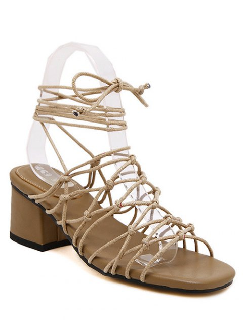 women's Lace-Up Strappy Chunky Heel Sandals - APRICOT 39 Mobile