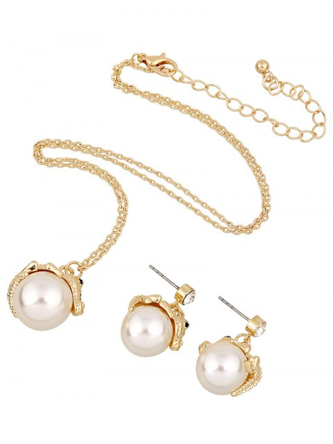 hot Faux Pearl Crocodile Necklace and Earrings - GOLDEN  Mobile