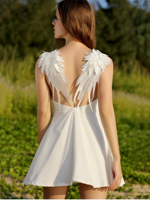 latest Wing Embroidery Sleeveless Flare Dress - WHITE L Mobile