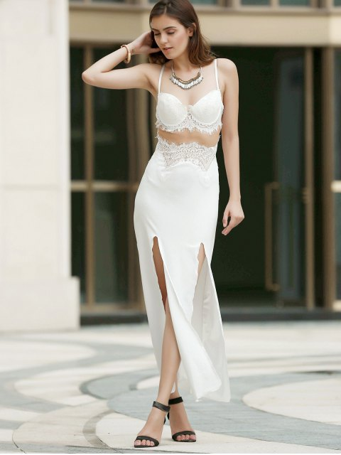 fancy Spaghetti Strap Openwork Lace Splicing Slit Dress - WHITE L Mobile