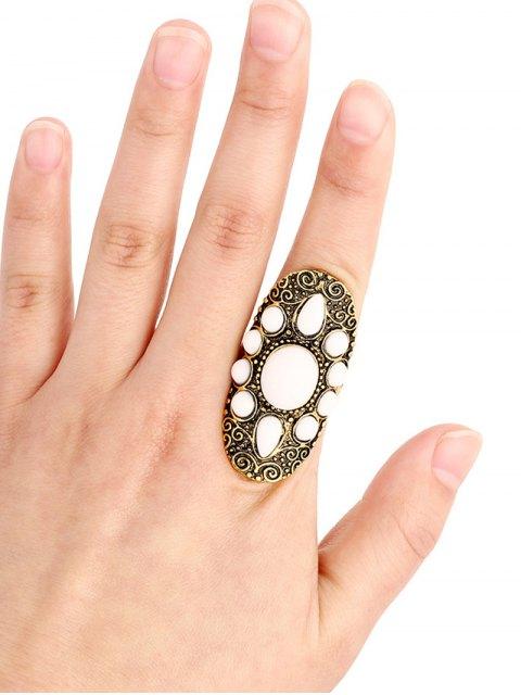 ladies Faux Gem Oval Embossed Ring - GOLDEN  Mobile