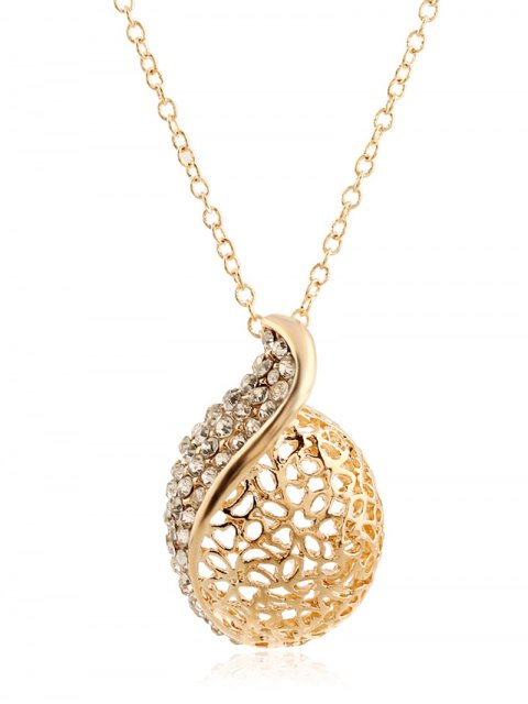 shop Rhinestone Hollowed Necklace and Earrings - GOLDEN  Mobile
