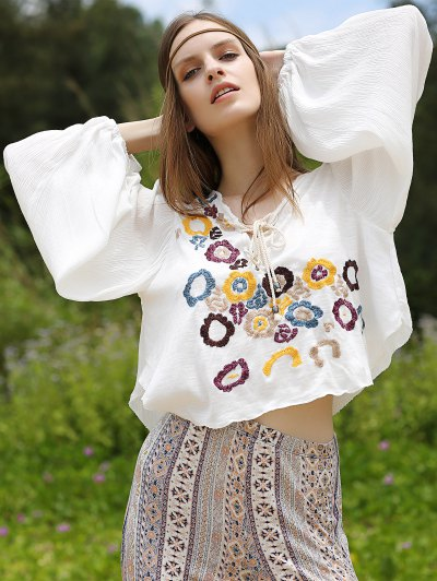 Flower Embroidery Lace Up Blouse - White