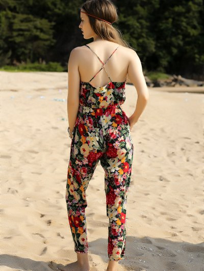 Red Floral Print Cami Jumpsuit - RED L Mobile