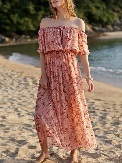 Slash Neck Frilly Chiffon Dress - PINK L Mobile
