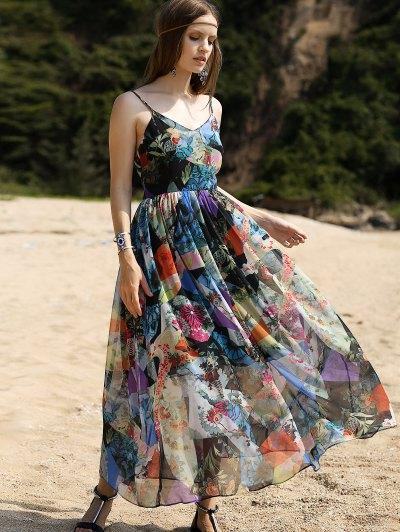 Backless Cami High Waisted Print Maxi Dress