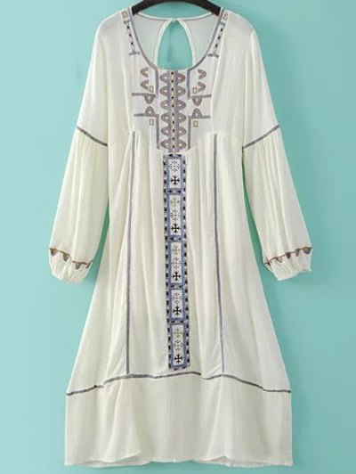 Embroidery Scoop Neck Back Cut Out Dress - Milk White