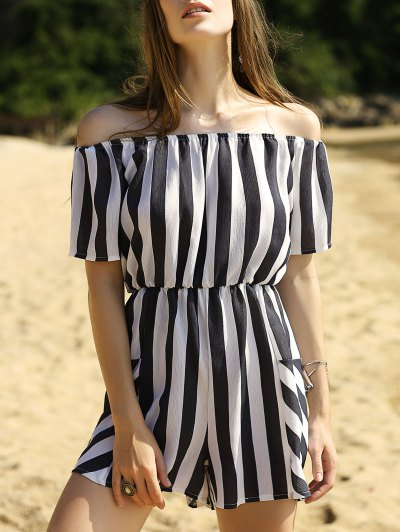Striped Off The Shoulder Romper - Stripe