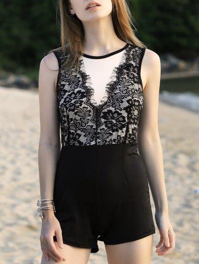 Lace Spliced Round Neck Sleeveless Romper - Black