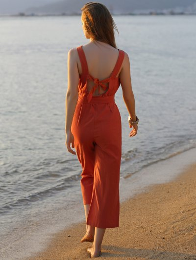 Bowknot Solid Color Round Neck Sleeveless Jumpsuit - JACINTH S Mobile
