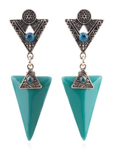 Rhinestone Triangle Flower Earrings - Peacock Blue