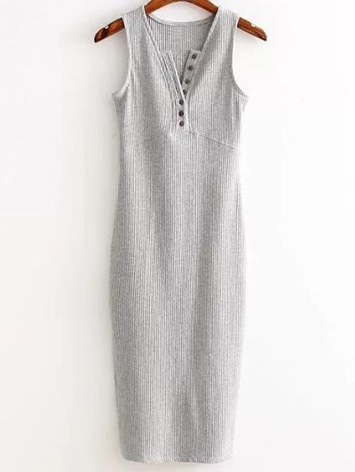 V Neck Side Slit Ribbed Dress