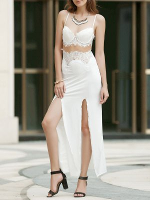 Spaghetti Strap Openwork Lace Splicing Slit Dress
