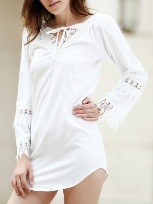 White Lace Splicing Backless Dress - White Xl