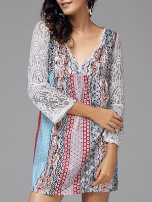 V Neck Lace Tiny Floral Print Bohemian Dress