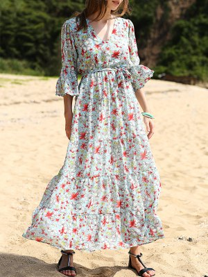 Full Floral Print V Neck 3/4 Sleeve Maxi Dress