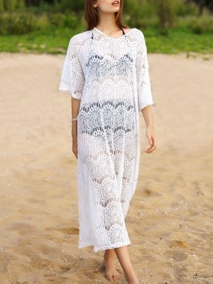 Hollow Out V-Neck 3/4 Sleeve Lace Cover Up - White
