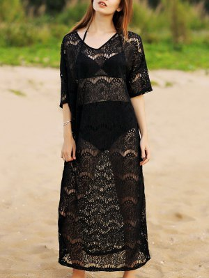 Hollow Out V-Neck 3/4 Sleeve Lace Cover Up - Black
