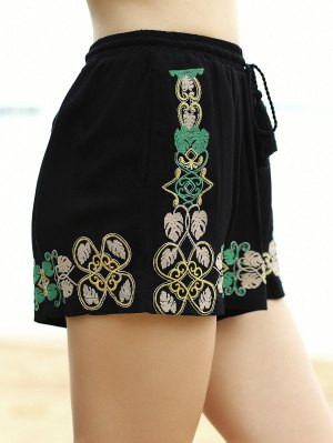 Embroidery Elastic Waist Wide Leg Shorts - Black