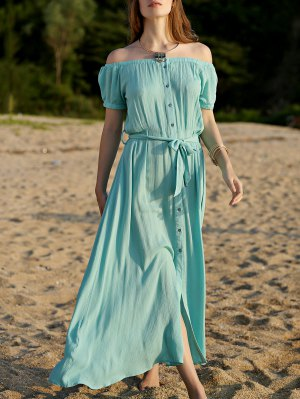 Button Front Turquoise Dress - Turquoise