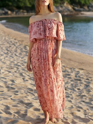 Off The Shoulder Floral Beach Maxi Dress - Pink