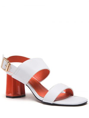 Chunky Heel Buckle Solid Color Sandals - White