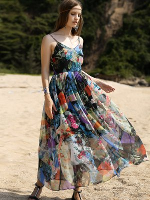 Backless Cami High Waisted Print Maxi Dress